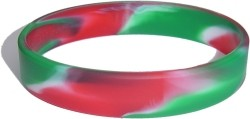 siwrl green and red and white wristband