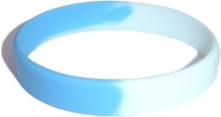 light blue and white wristband