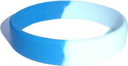 middle blue and white wristband