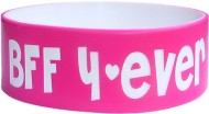 pink with white colored text one inch bands