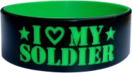 black with green colored text silicone band in one inch size