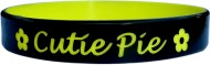 black with yellow colored  text custom silicone wristband