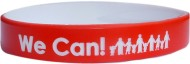 red with white colored  text custom silicone wristbands