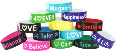 big one inch color text wristband
